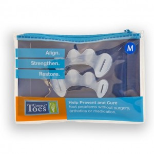 Correct Toes silicone toe spacers; Size Medium, fits most Women Size US 7-12.5, and most US Men Size 6-11, EU 38-44.