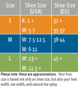 Correct Toes silicone toe spacer sizing chart. Sizing is approximate, your true size is based not only on shoe size, but also your foot width, toe width, and natural toe splay.