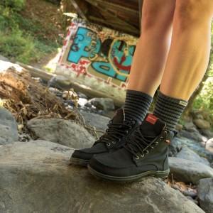 Lems Boulder Boots, Black with Injinji Nuwool Del Mar Grey Crew
