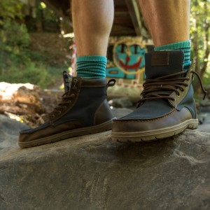 Lems Boulder Boots, Navy Stout with Injinji Nuwool Del Mar Turquoise Crew